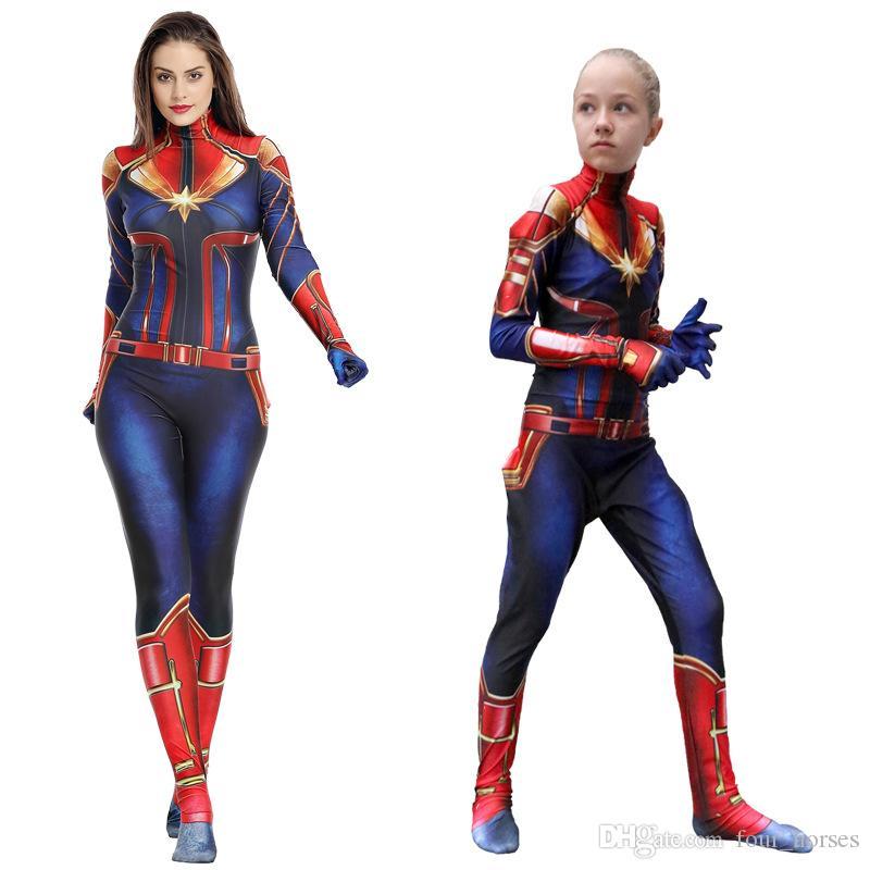 Çocuklar Yetişkin Superhero Giyim Kızlar Tek Parça Parti Kostüm Çocuk Giyim Kaptan Marvel Cosplay Kostümler