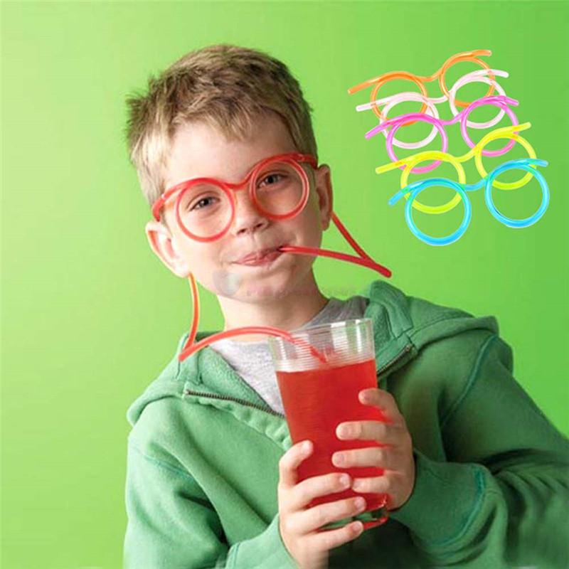 Девушка Novetly Взрослый Мальчик Смешные трубки Питьевые напитки 5 ШТ. Мягкие очки солома Гибкая вечеринка Новинка TDAQI