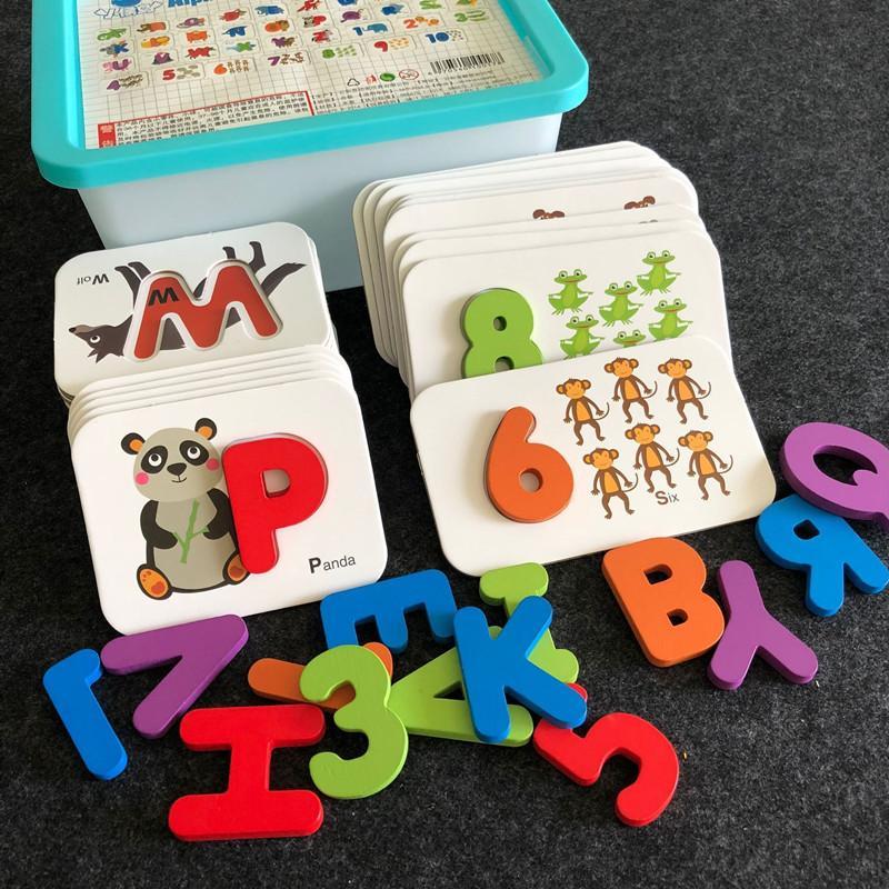 Bebé Educación temprana Puzzle Jigsaw Puzzle Niños Cognitive Enseñanza Ayudas Niños Reconocer letras digitales Rompecabezas a juego