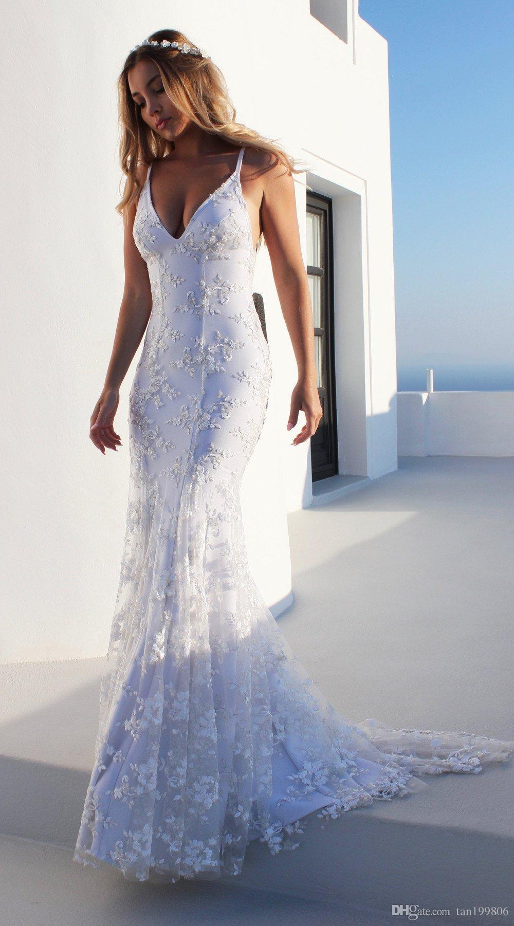 2019 Nouveau Femmes Robe longue Sexy Décolleté V Party Neck Casual Robe dos nu Robes blanches sans manches vêtements de vacances
