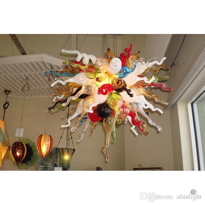 Certificato Blown Lampadari Light Multi Color Murano Art Chandelier Home Decorazione dell'hotel Lampo di vetro