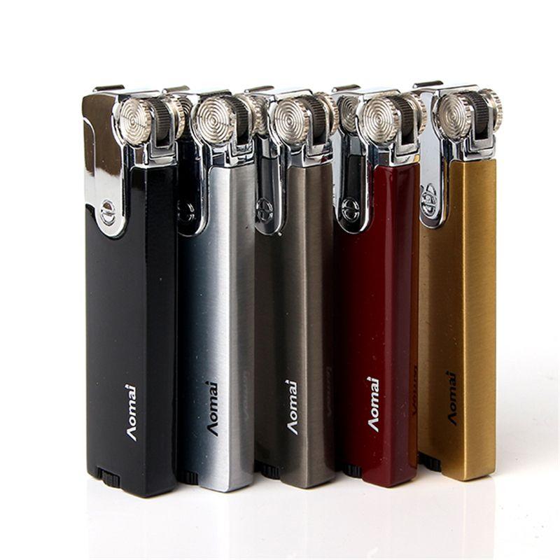 금속 덮개 시가 라이터 새 스타일 담배 액세서리 방풍 슬림 가스 라이터
