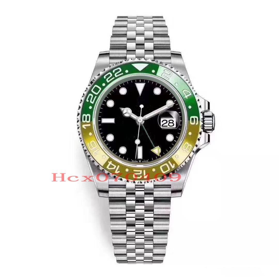 5 Style New Herren-Uhr-automatische mechanische Uhren GMT Edelstahl Gelb Orange Grün Keramik-Lünette 40mm Jubilee-Bügel-Meister Wrist Wa