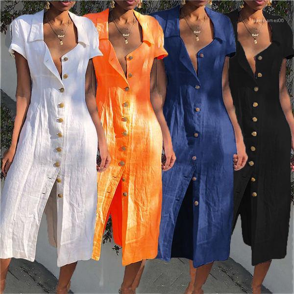 Pamuk Keten Elbise Boho Düğme Açık Elbiseler Kadınlar Katı Kısa Kollu Aşağı Coller Uzun Elbise Plus Size Yaz çevirin