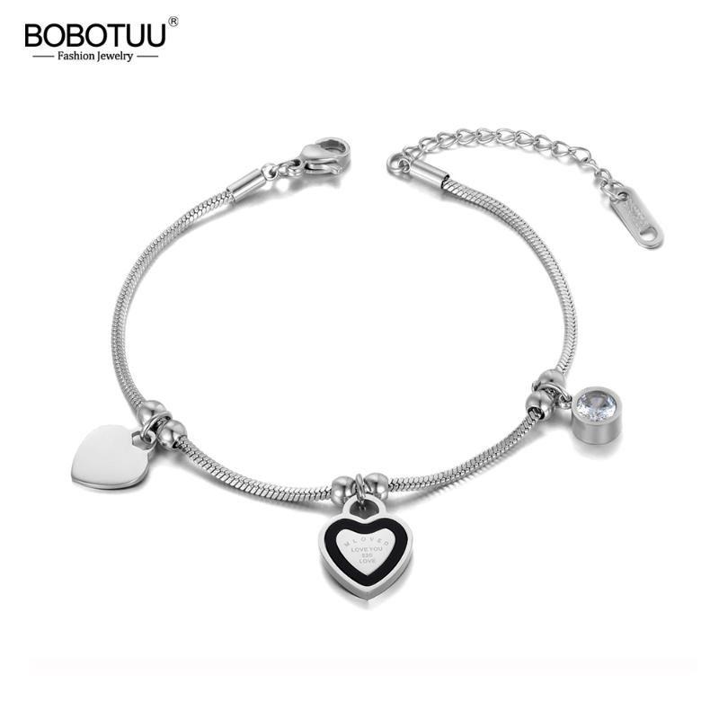 BOBOTUU Trendy CZ Crystal Heart Charm Double Layer Bracelets For Women Stainless Steel Snake Chain Bohemia Beach Jewelry BB19087