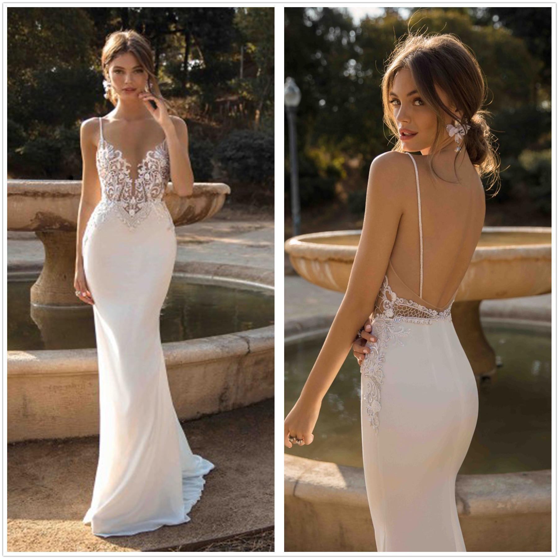 2020 Mermaid Abiti da sposa senza spalline Appliques Pizzo Beach Bride Dress Backless sexy abiti di nozze