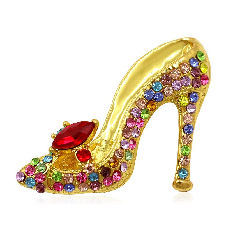 Multi-Colors Crystal Rhinestones High Heel Shoes Brooch Pins for Women party pins jewelry accessories elegant lady scraft 10pcs/lot