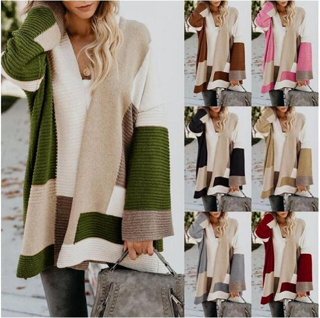 New fashion women sweater 7colour Large size loose geometric cardigan