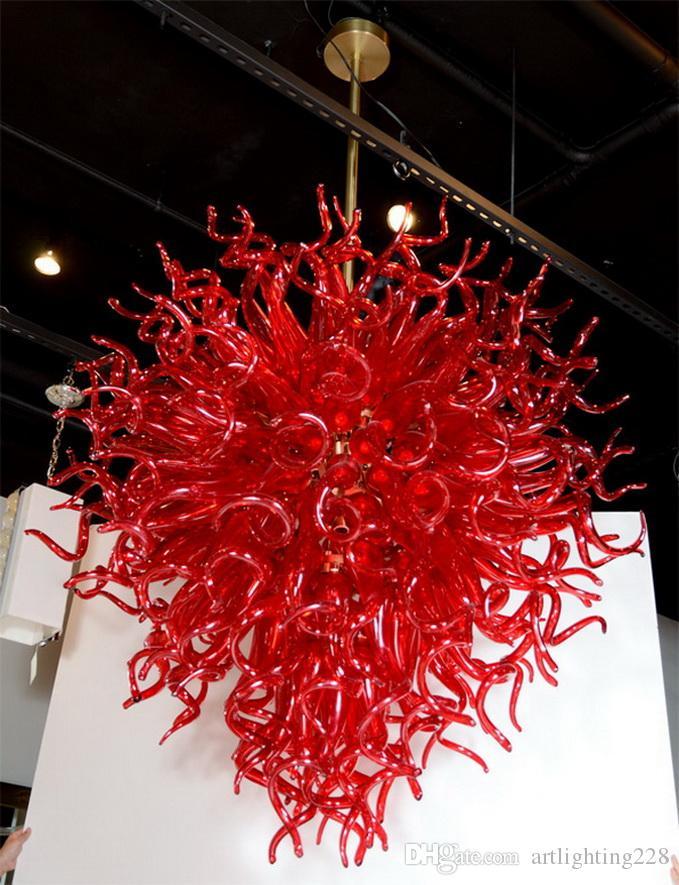 Moderna del boda de la lámpara de cristal de Murano Rojo fábrica de China-salida de Dale Chihuly decoración de la boda cristalina moderna lámparas pendientes