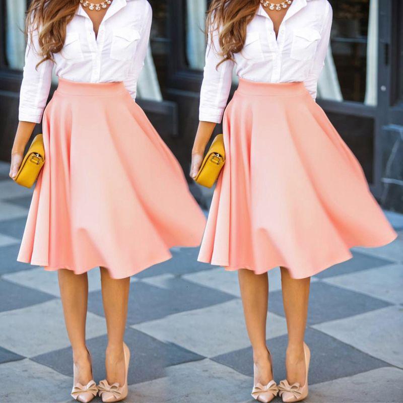 Mulheres cintura alta Saias Vintage Ladies estiramento MIDI macia Flared plissadas balanço rosa saia cor sólida