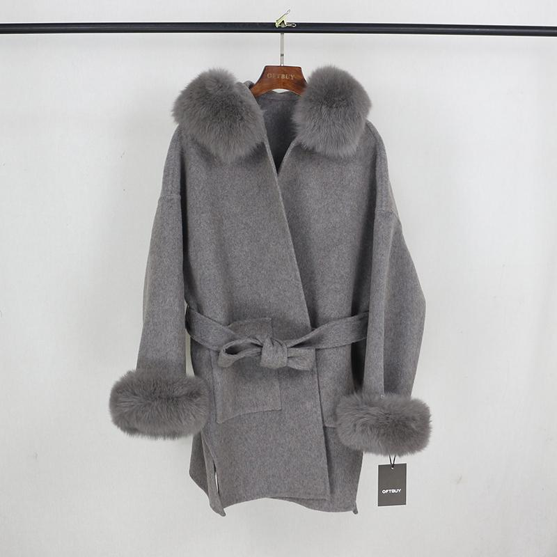 OFTBUY 2020 Real Fur Coat Winter Jacket Women Natural Fox Fur Collar Cuffs Hood Cashmere Wool Woolen Oversize Ladies Outerwear