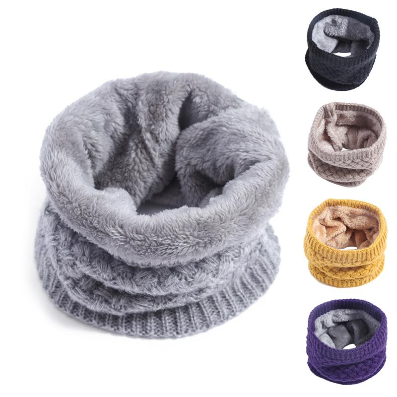 Winter Baby Ring Scarf Kids Boys Girls Autumn Cotton Scarf Thicken Velvet Knitted Wool Warm Snood Children Braga Neck Scarves T200609