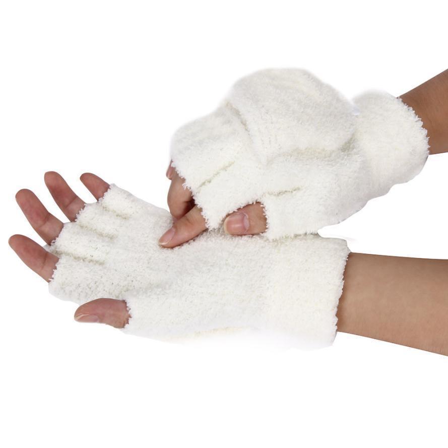 Trendy Fashion Winter Knitted Faux Fur Fingerless Gloves Women Wrist Soft Warm Mitten Women's Outdoor warm items #Z D19011005