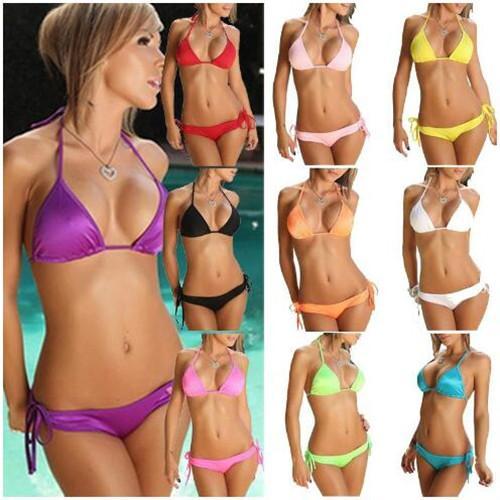 Swimmart Sexy Bikini Set Womens Halter Strapless Bras Praia Swimsuit Sólidos Maiô Verão Swimwear 11 Cores Tamanho Livre Atacado