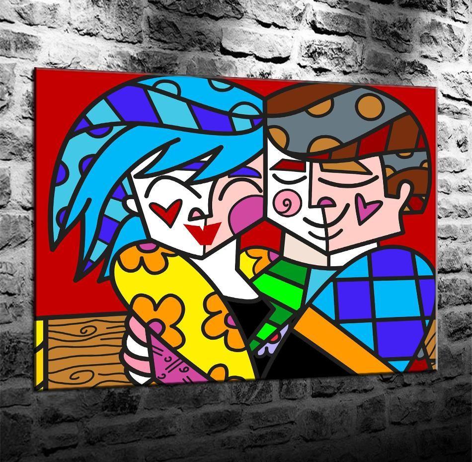 Romero Britto So Happy, HD Impresión en lienzo Decoración para el hogar Pintura del arte / Sin marco / Enmarcado