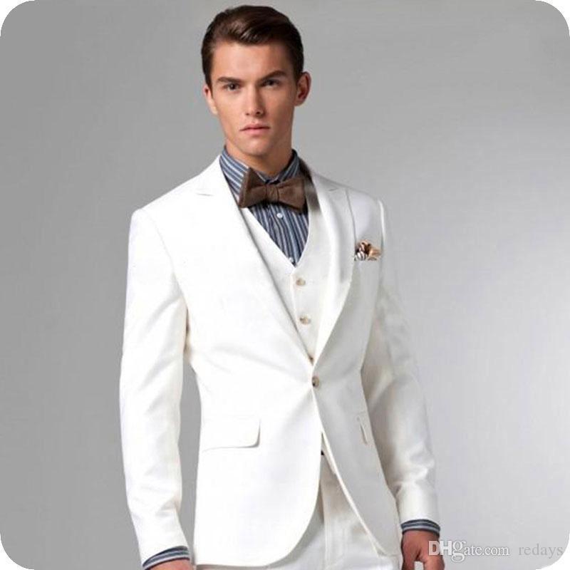 Formais ternos homens de negócios do Marfim casamento traje smoking Homme Slim Fit Terno masculino Groomsmen Outfits Man Blazer 3piece Brasão Calças Vest