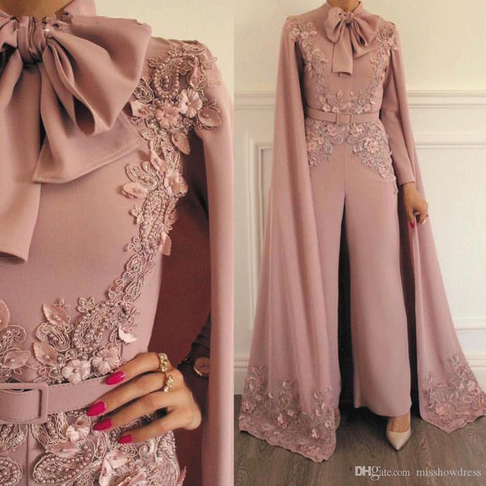Woman Jumpsuit Vintage Capped Lace Applique Beaded For Evening Party Long Sleeves Floor Length Formal Muslim Dresses Gowns