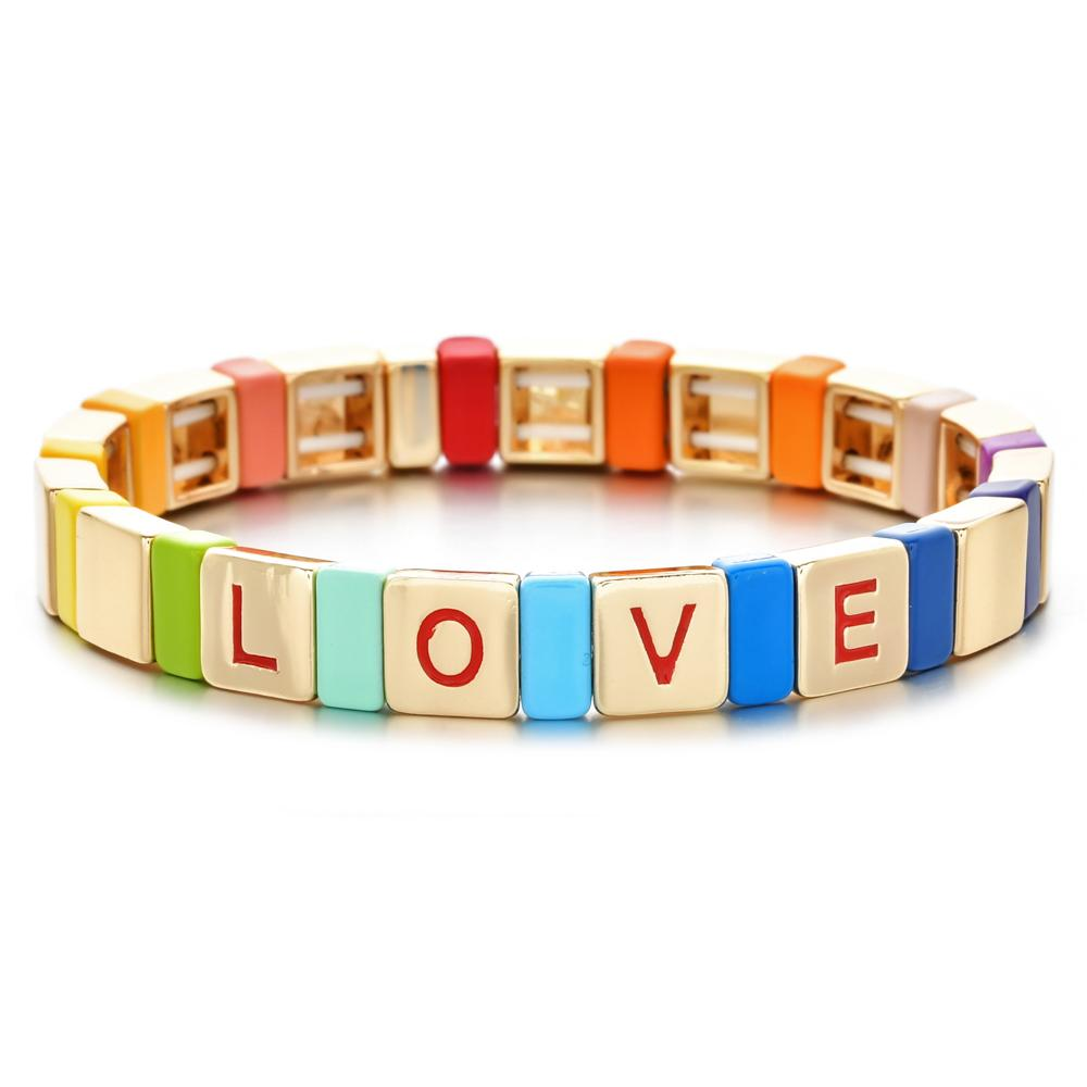 Bracciali Tile ZMZY dello smalto rosso si estendono per Arcobaleno Bracciale Donne Love Letter perle di Boemia impilabile stirata del braccialetto