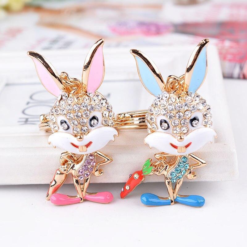 Металл Key Ring Chain Супер милый зайчик Брелки Розовый Синий Эмаль Rhinestone Подвеска животных цвета золота Креативный детей ювелирных изделий