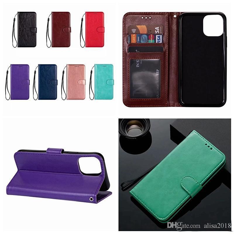Rétro carte Crazy Horse PU Porte-monnaie en cuir crédit fente cas Flip pour iPhone 11 Pro XR max XS MAX 6 7 8 PLUS Samsung S20 PLUS S20 Ultra A51 A71