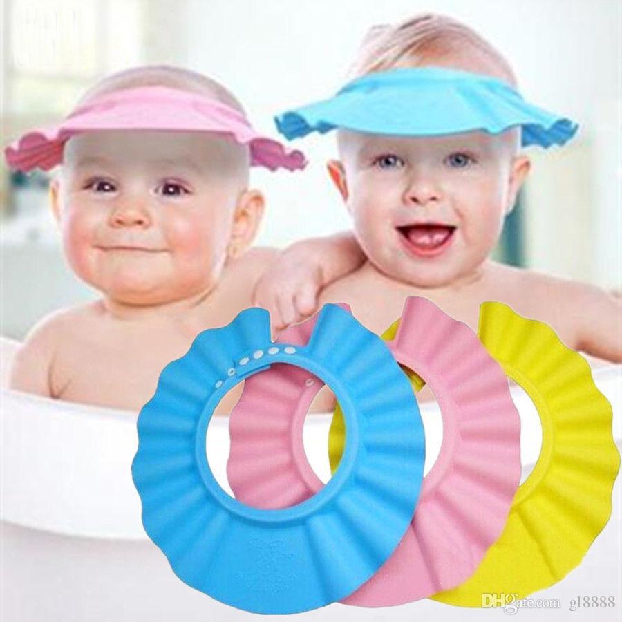 Premium Quality Adjustable Baby Kids Shampoo Bath Shower Cap Hat Wash Hair Shield Green fast-shop