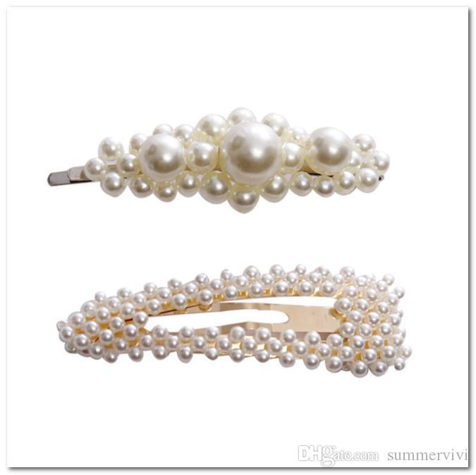 Lot Cute Girls Pearl Bead Barrette Hair Clip Hairpin Hair Women Accessories
