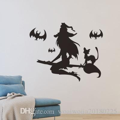 20190621 parede de morcego bruxa de Halloween com casa assombrada, shopping center, decoração de cinema