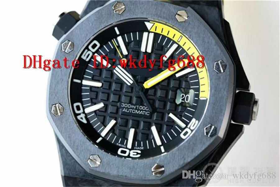 XF Top ROYAL OAK OFFSHORE DIVER 15706 Watches Carbon Fiber Case Swiss Automatic Mechanical Mens Watches Date Display Sapphire Crystal