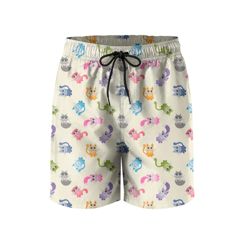 Mens Summer Cat Boardshorts Swim Trunks with Pockets