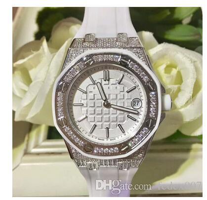2020 Больше стиля Горячие часы 37 мм Royal Oak Offshore Diamond Red Dial Кварцевый Chronogr Каучуковый ремешок Отличные женские часы