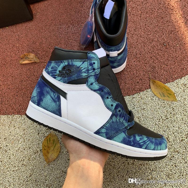 2020 Shoes Best Air Aauthentic 1 High OG Retro WMNS Tie-Dye Basquetebol Aurora Verde Homem Mulher Sports Sneakers CD0461-100 com caixa original
