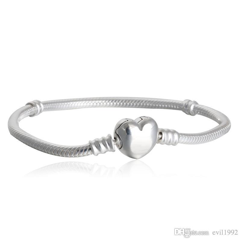 1pcs Drop Shipping usine plaqué argent avec logo Coeur Bracelets serpent chaîne Fit pour pandora Bangle Logo Bracelet Femme Enfant Cadeau B002