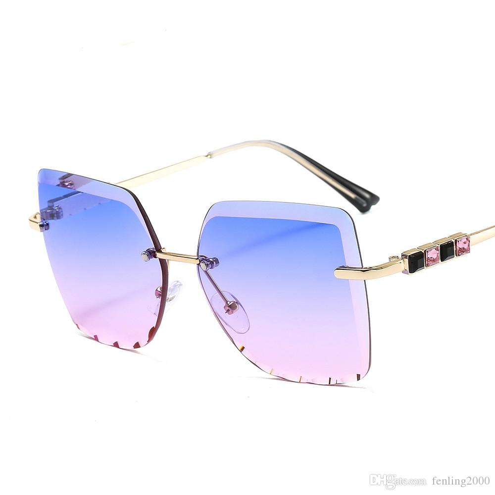 2020 nouvelles lunettes de soleil cadre sans cadre métallique couleur carré lunettes de soleil diamant femmes mode hommes UV400 lunettes de soleil