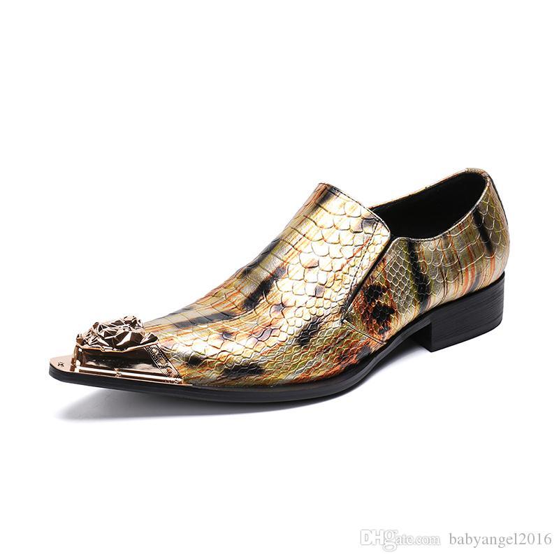 Luxus Handgefertigte Männer Schuhe Spitz Eisen Zehe Gold Echtes Leder Schuhe Mann Formale Party Hochzeit Schuhe