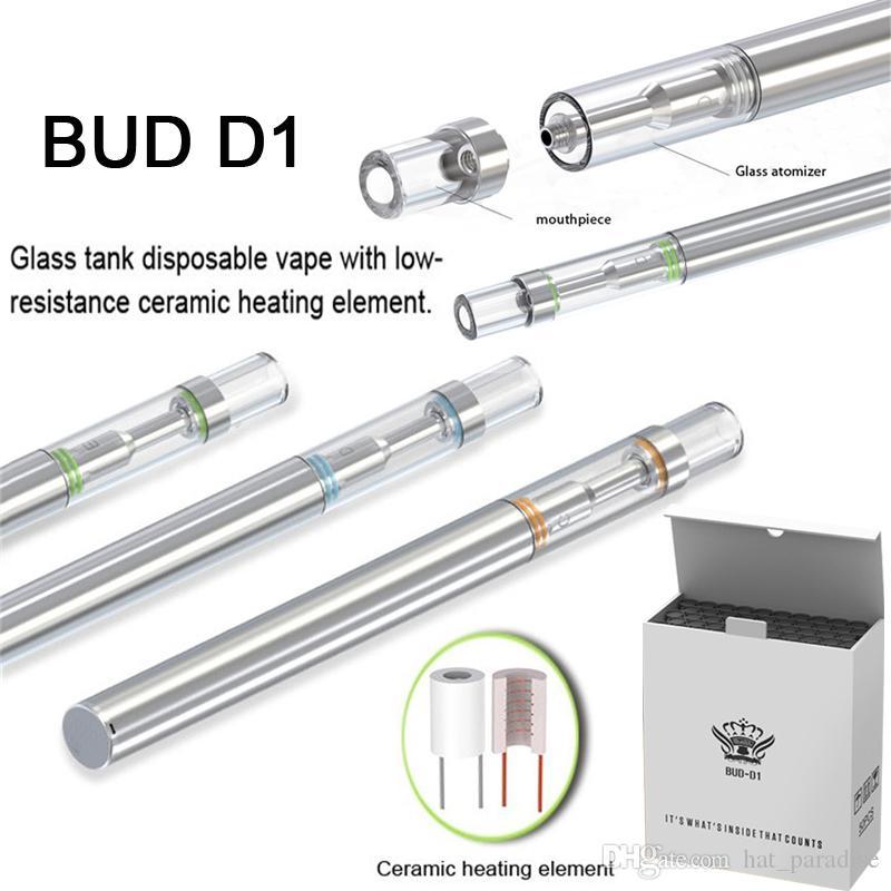 Disposable Vape Pen Bud D1 Vape Cartridges 310mAh 510 Thread Battery Vaporizer Empty Oil Vape Pen Cartridges Ceramic Coil E Cig Atomizer