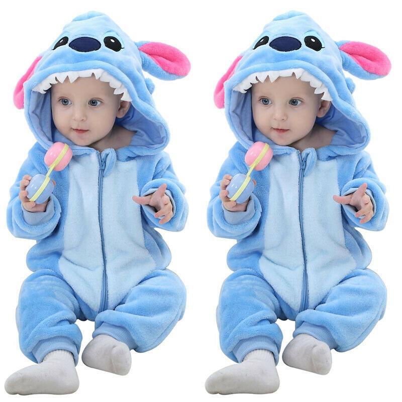 UK Newborn Kids Baby Boys Stitch Flannel Zipper Hoodies Romper Jumpsuit Outfits