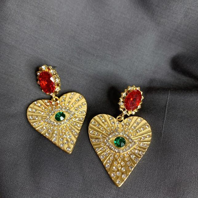 großer Kristallherzohrring Kronleuchter roter Rubin Ohrringe böser Blick earing Charme Modeschmuck freies Verschiffen