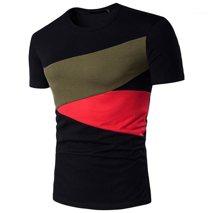 Diseñador camiseta de verano con cuello redondo de manga corta a rayas camisetas Los hombres delgados ocasionales de ropa para hombre con paneles de color de contraste