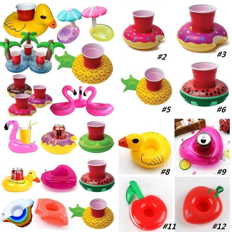 Inflatable Cup Float Flamingo Cup Holder Coasters Inflatable Drink Holder for Swimming Pool Air Mattresses for Cup Party SuppliesI175