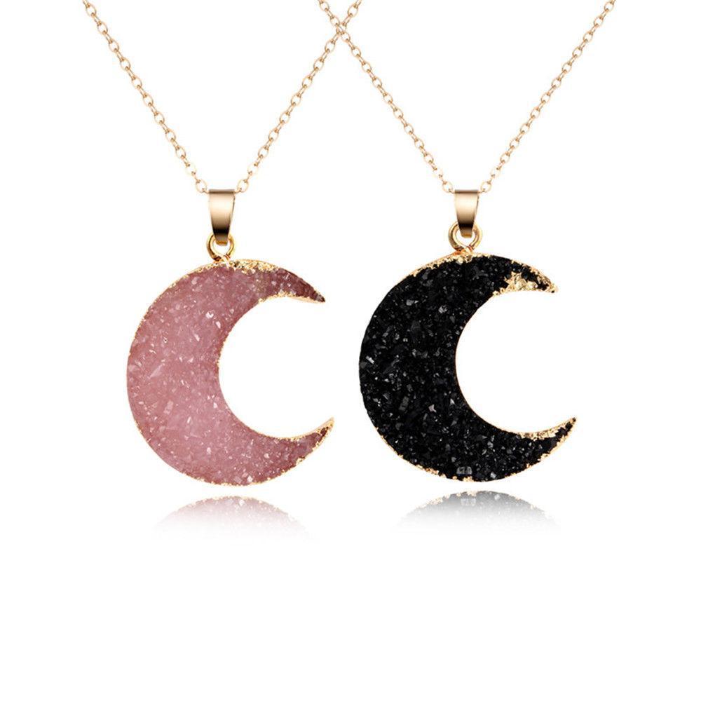 جديد الوردي الأسود القمر الراتنج ستون قلادة قلادة المرأة Druzy Drusy لون الذهب قلادة سلسلة لأنثى ربط سلسلة