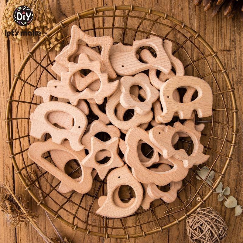 Let Make 20pcs / lot en bois de hêtre de qualité alimentaire Tétines main Pigeon Teether animaux en bois Tétines Set LY191202
