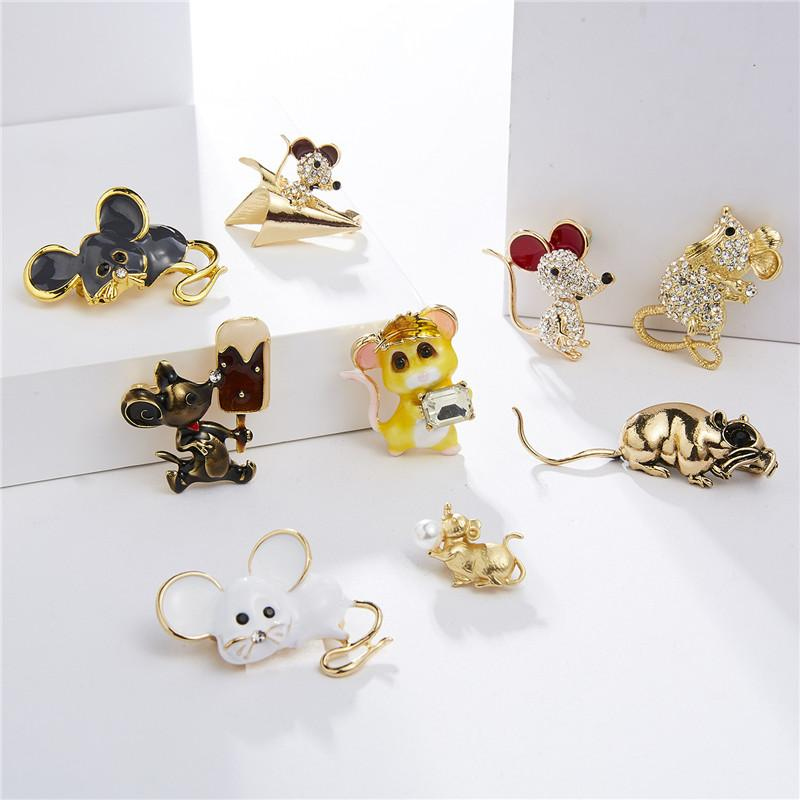 Free DHL 9 Styles Mouse Brooch Rhinestone Painting Oil Brooches Alloy Animals Enamel Metal Lapel Pins for Women Men