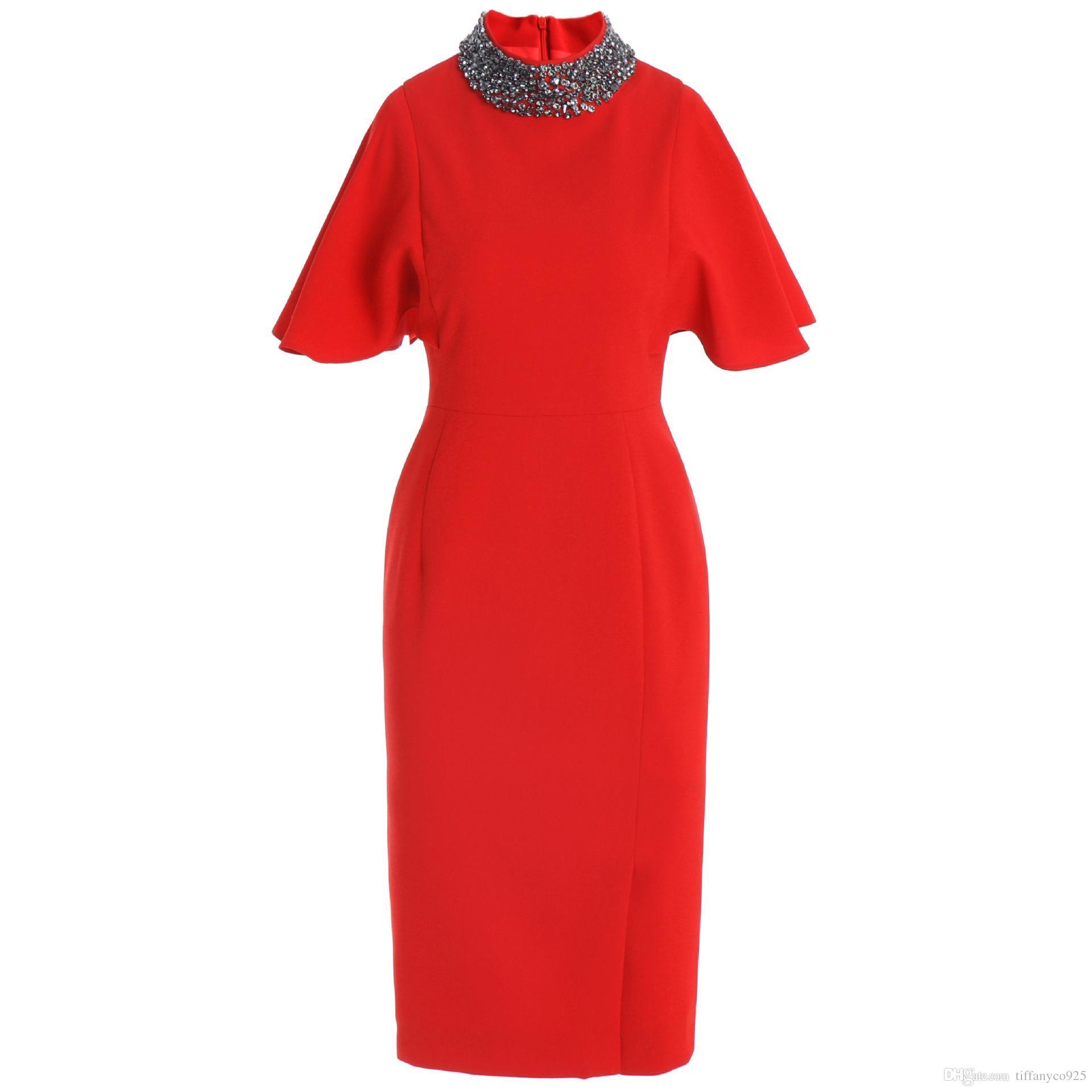 2020 Spring Luxury Half Sleeve Stand шеи Элегантный Красный Чистый цвет бисера Midi платье повседневные платья M211901209