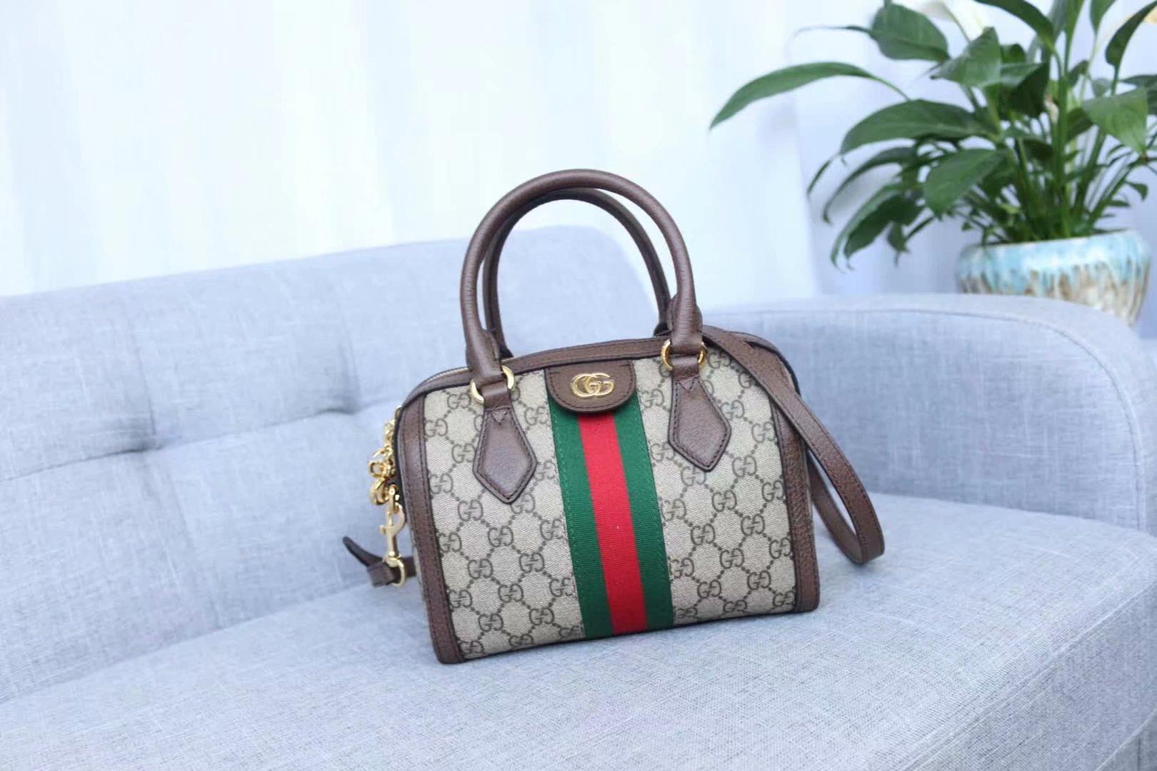 Hochwertige Designer GG Art und Weise Frauen-echtes Leder Ophidia Schultertasche 499688 Purse Handtaschen Klappen mit Doppel-G-Verschluss 22cm weiß