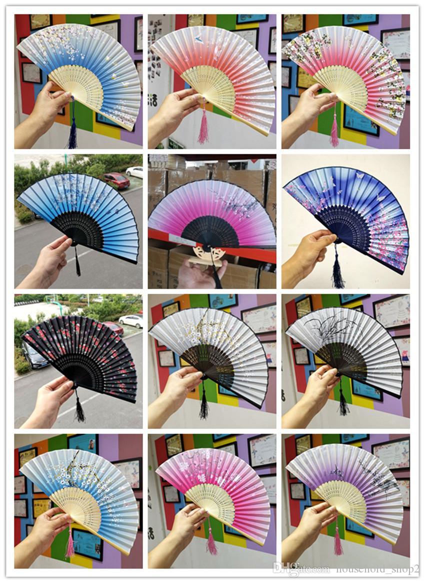 Hand Held Fan plegable flor de 71 colores chinos japoneses estilos Dance cordón de la boda Los aficionados coloridas del favor de partido A05