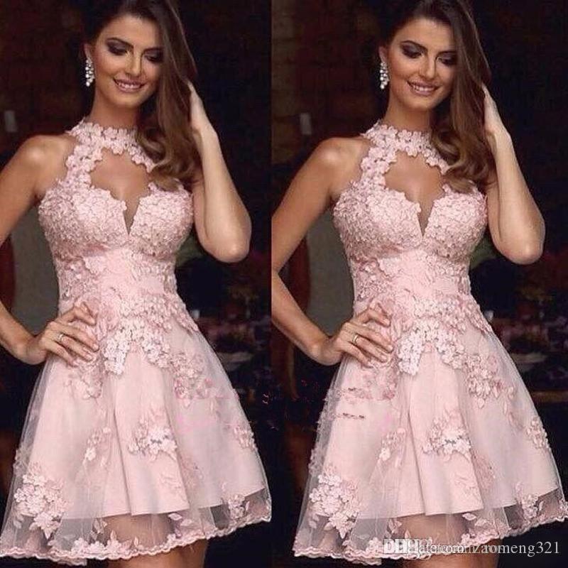 Elegantes vestidos de cóctel Pink Jewel Lace Appliques Corta Vestido de Homecoming Corta Sin respaldo Mini PRIG Party Dress PLUS TAMAÑO 2020