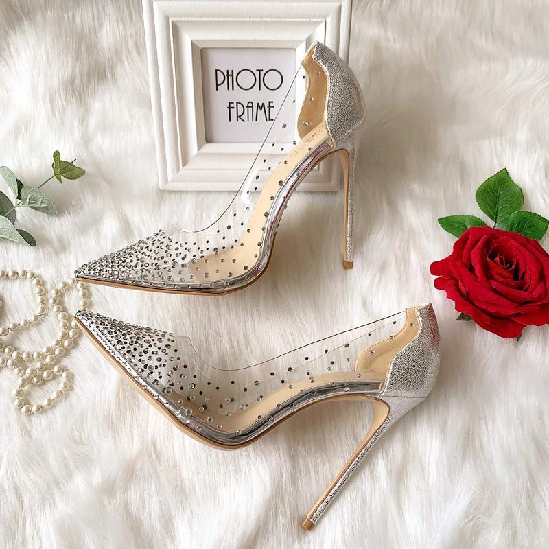 2020 atractiva de la manera mujeres de la señora boda de envío libre del Rhinestone cristalino de cuero plata mate Poined PVC superior zapatos de tacones altos de tacón BOMBAS