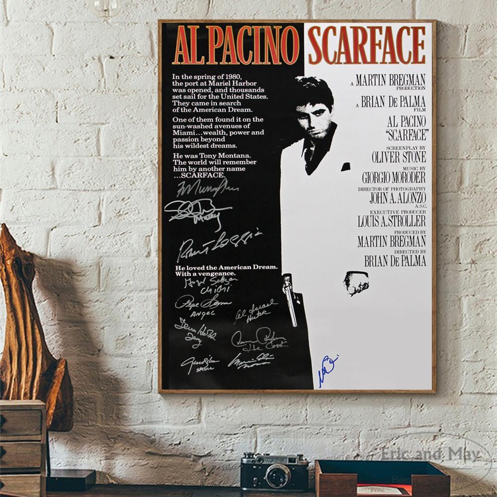 Assinatura Filme Scarface Pintura Poster Print Decorativo Retratos Da Parede Para Sala de estar Sem Moldura de Decoração Para Casa Acessórios