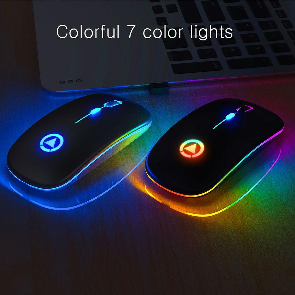 Inalámbrico silencioso retroiluminación LED recargable ratones luminoso ratón óptico USB ergonómico ratón para juegos de PC Ordenador RGB ratones para computadoras portátiles PC