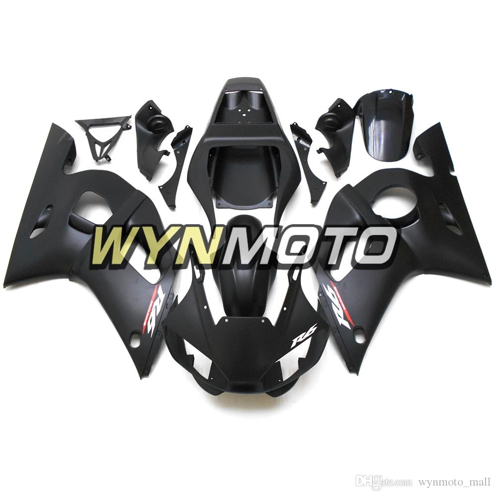 Matte Black Sportbike Covers Panels For Yamaha YZF-600 R6 Year 1998 99 00 01 2002 Complete Fairing Kit Brand New Blue Black Plastic Cowling